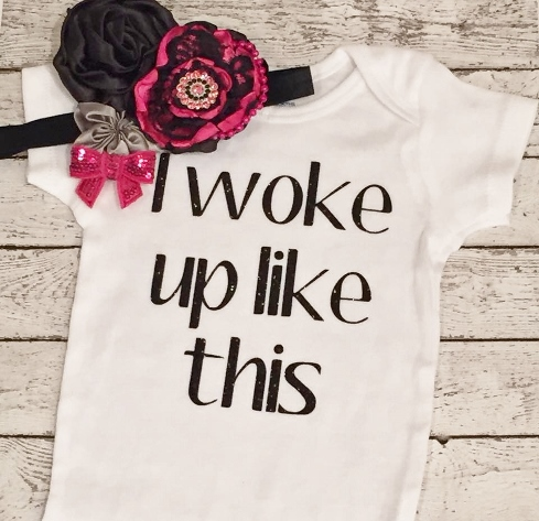 I Woke Up Like This Black Sparkle Glitter Onesie Shirt