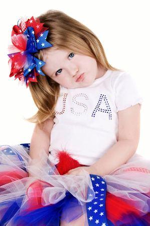 Posh and Patriotic USA Hair Bow Headband