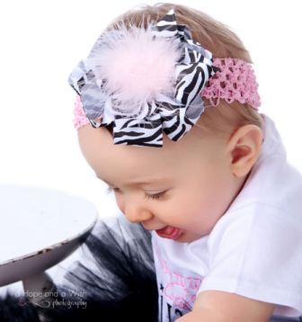 Animal Print Girly Diva Zebra Baby Hair Bow Headband