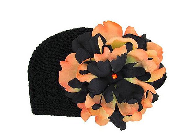 Black & Orange Peony Crochet Hat