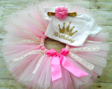 Gold Glitter Crown First Birthday Princess Outfit Tutu