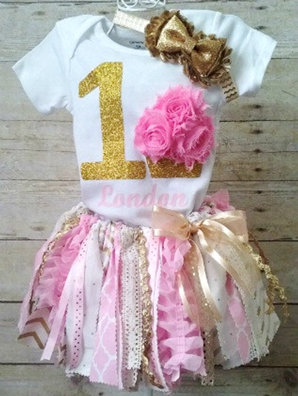 Pink and Gold First Birthday Cupcake Ribbon Tutu Outfit