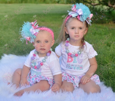 Big Sister Little Sister Embroidered Shirt Onesie