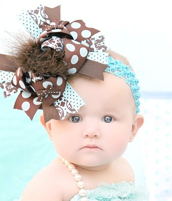 Brown and Aqua Over the Top Hair Bow Headband