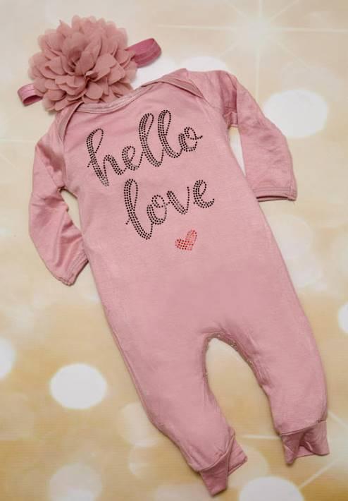 Hello Love Mauve Infant Layette Cotton Baby Romper with Large Chiffon Headband
