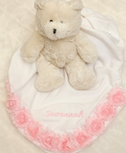 White Personalized Baby Girl Receiving Blanket with Pink Chiffon Trim