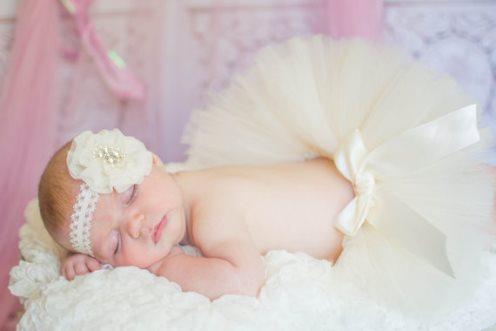 Ivory Newborn Tutu with Matching Chiffon Rhinestone Headband