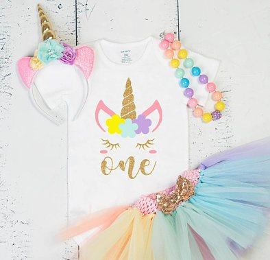 Magical Pastel Unicorn First Birthday Onesie Tutu Outfit
