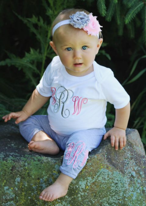 Pink & Grey Monogrammed Bodysuit & Leggings Outfit Set with Matching Headband
