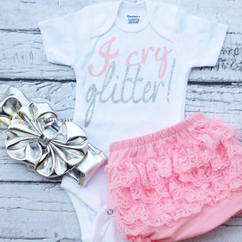 Light Pink & Silver I Cry Glitter Onesie