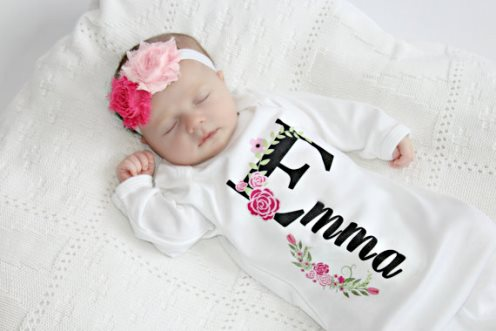 Personalized Floral Newborn Layette Gown & Headband Set