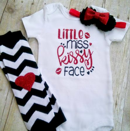 Little Miss Kissy Face Glitter Onesie Valentine Outfit Set