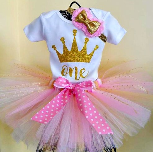 Pink & Gold Glitter Crown Princess 1st Birthday Tutu Outfit