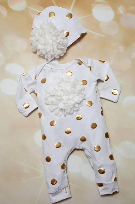 White & Gold Polka Dot Infant Baby Girl Boutique Romper