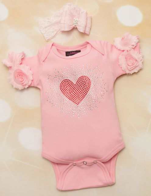 Baby Girls Pink Valentines Day Onesie with Red Rhinestone Heart & Matching Lace Headband Outfit Set