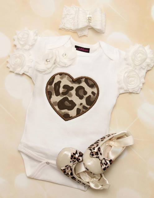 Baby Girls White Onesie with Brown Leopard Heart & Matching Lace Headband Outfit Set