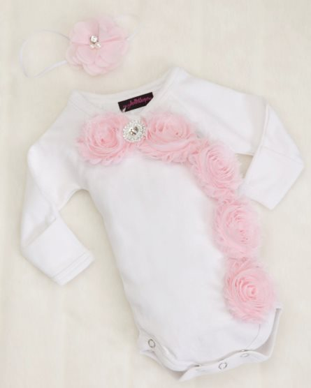 Preemie Baby Girl White Long Sleeve Kimono Style One Piece with Shabby Chiffon Flowers & Rhinestones