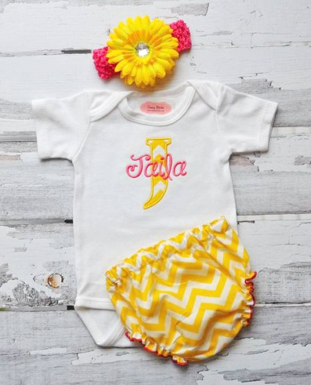 Hot Pink & Yellow Chevron 3pc. Outfit Set
