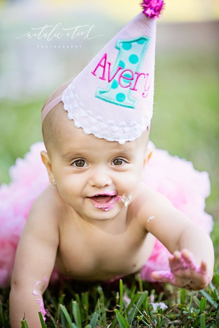 Aqua & Hot Pink Sparkle Pom First Birthday Party Hat