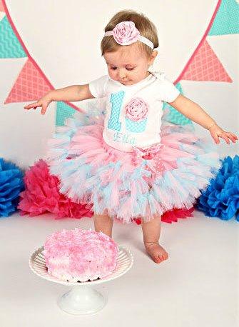 Pink & Aqua Cupcake First Birthday Party Tutu Outfit Set