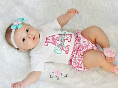 Hot Pink & Aqua Damask Personalized 3pc. Infant Outfit Set
