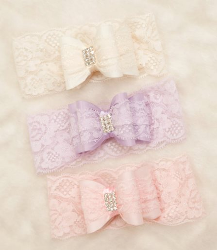 Beautiful Double Bow Infant Toddler Lace Bow Headband with Rhinestone Center