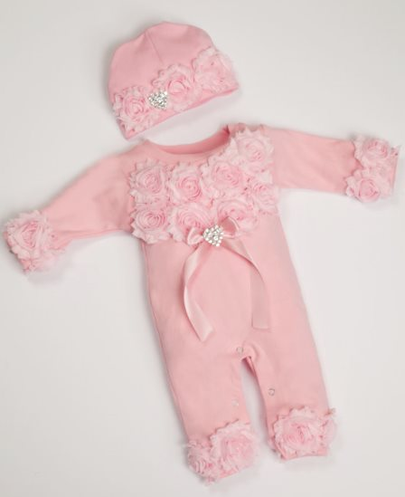 Pink Baby Girl Romper Infant One Piece Set with Shabby Chiffon Flowers & Matching Hat