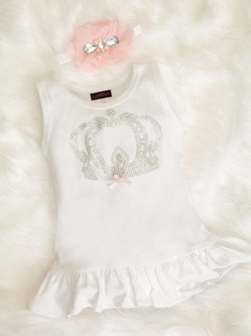 Baby Girl Cotton White Dress with Rhinestone Bling Royal Crown & Headband Set
