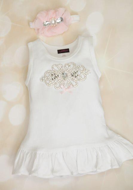 Toddler White Cotton Big Rhinestone Dress with Matching Headband