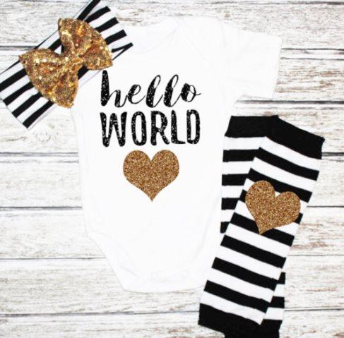 Black & Gold Glitter Hello World Onesie Outfit Headband Set