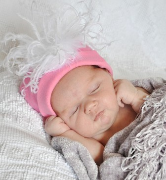 Pink and White Cotton Knit Beanie Feather Hat