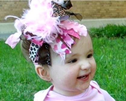 Pink Camo and Leopard Over the Top Hair Bow Headband