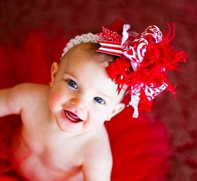 Red and White Damask Over the Top Hair Bow Headband