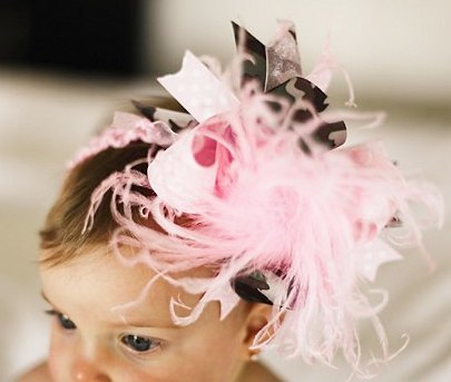Pink and Green Camo Over the Top Hair Bow Headband