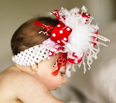 Red White and Leopard Over The Top Hair Bow Headband
