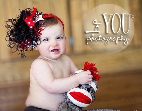 Sock Monkey Red and Brown Over The Top Hair Bow Headband