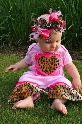 Leopard and Hot Pink Bling Center Over the Top Hair Bow Headband