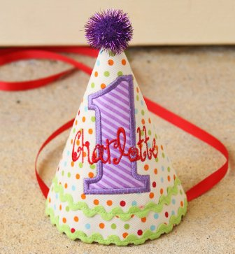 Colorful Dots & Stripes Girls First Birthday Party Hat