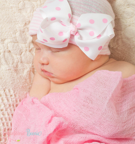 Pink Polka Dot Bow Newborn Boutique Hospital Hat