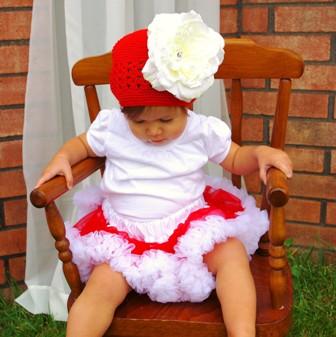 Red & White Crochet Flower Hat