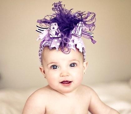 Shades of Purple Zebra Over the Top Hair Bow Headband