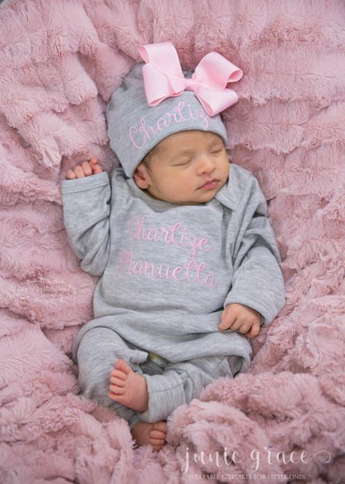 Personalized Gray and Pink Newborn Romper with Matching Hat Outfit Set