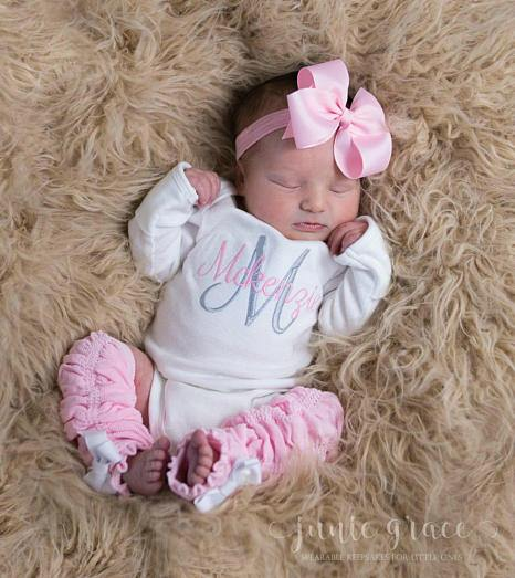 Personalized 4pc. Pink and Gray Onesie Leg Warmers and Headband Outfit Set