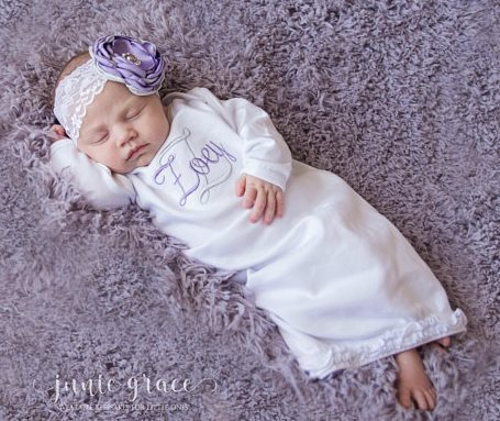 Personalized Lavender and Gray Layette Gown and Headband Outfit Set