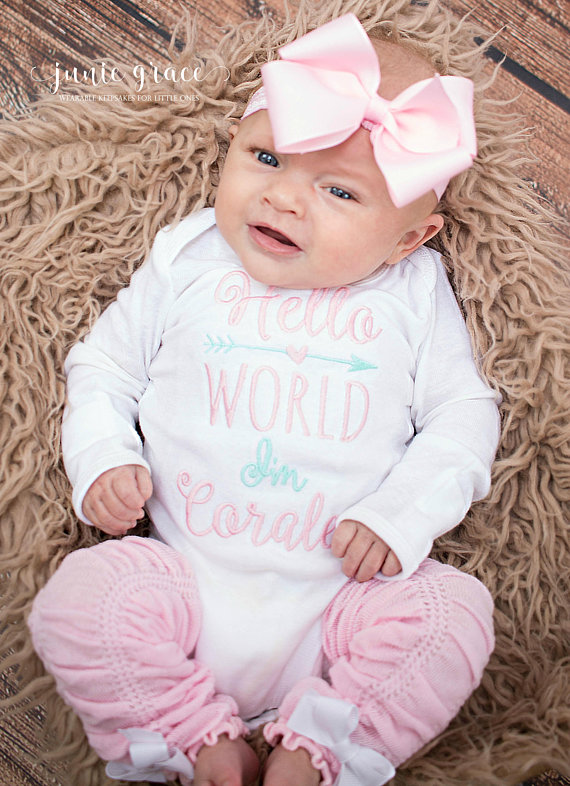 Hello World Personalized Pink and Aqua 4pc. Onesie Leg Warmers and Headband Outfit Set