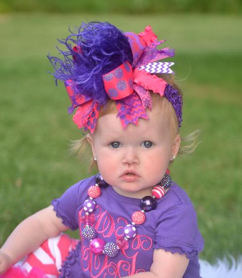 Hot Pink and Purple Over the Top Hair Bow Headband