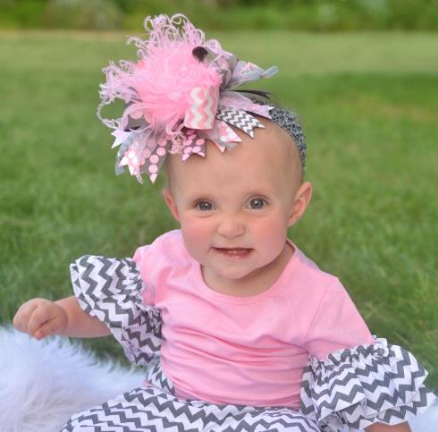 Pink and Gray Over the Top Hair Bow Headband