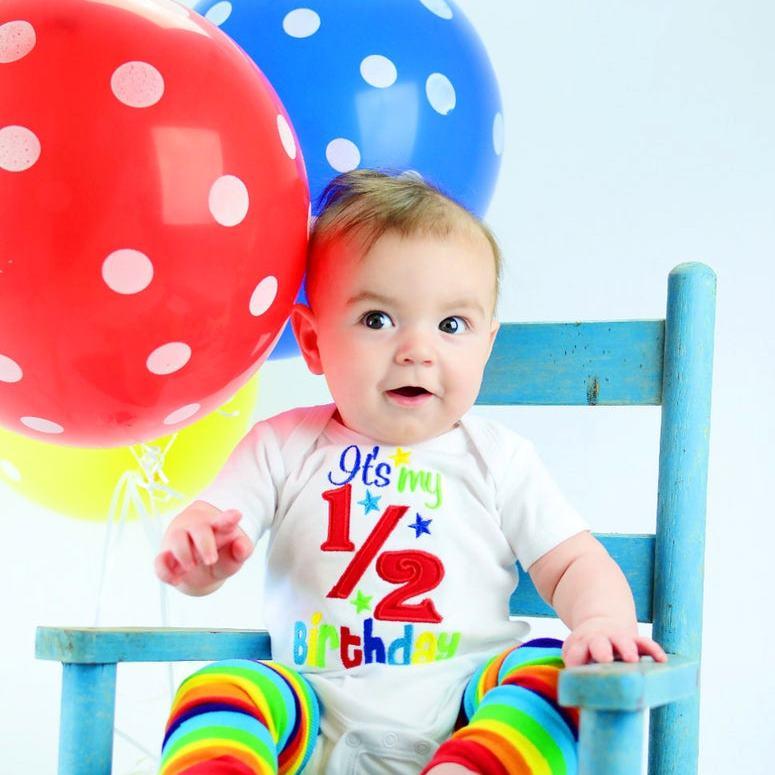 Rainbow Baby 1/2 Birthday Bodysuit