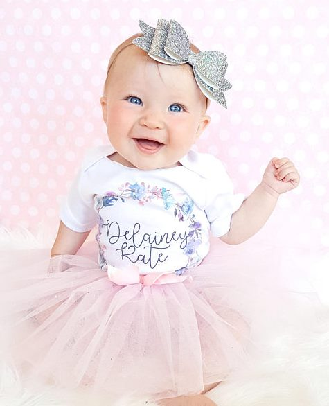 Personalized Lavender Floral Wreath Onesie or Shirt