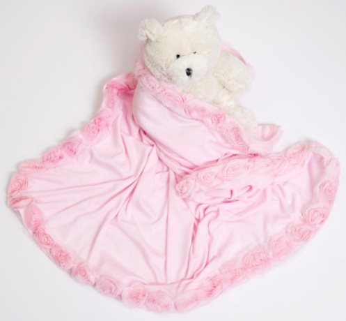 Pink Receiving Baby Blanket with Shabby Chiffon Flowers